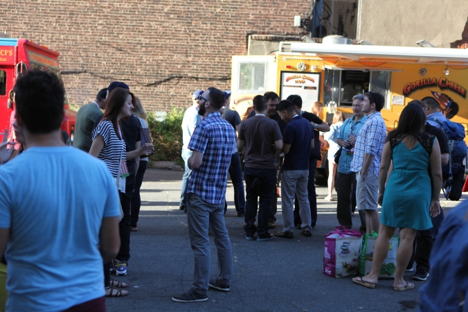 Food trucks (and porter potties) aplenty.