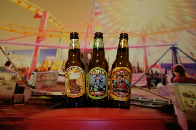 Coney Island Brewing Co.'s Hard Root Beer, Overpass IPA and Freaktoberfest.