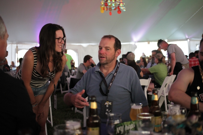 Talking with Phil Leinhart at the Belgium Comes to Cooperstown VIP dinner, Aug. 7, 2015.