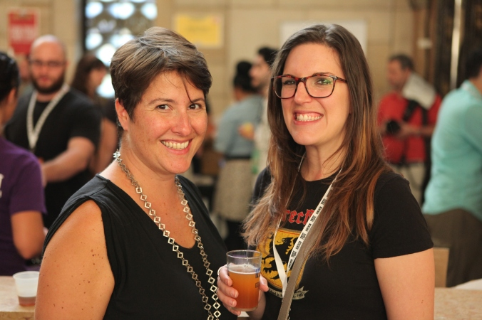 Sonya Giacobbe and Cat Wolinski at the Village Voice Brooklyn Pour festival, Sept. 2014.