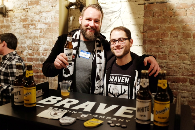 Bushwick's favorite pair of brewers, Marshall and Eric of Braven Brewing, kitted out in Braven merch.