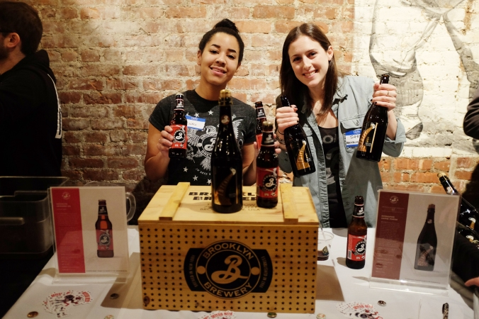 Kaitie and Sam from Brooklyn Brewery looking badass with the beers to back it up.