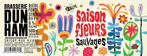The Saison Fleurs Sauvages label. Each bottle label is designed by a different local artist. Image via brasseriedunham.com.